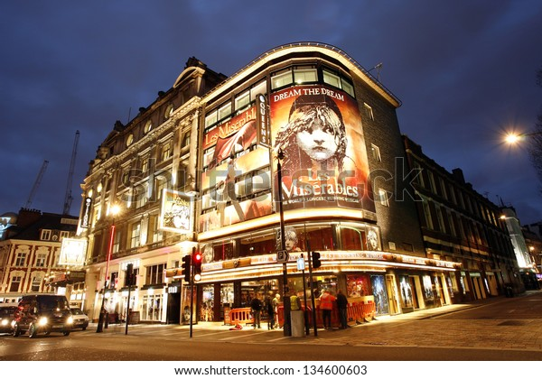 LONDON - DEC 10: Outside view of Queen's Theatre, West End theatre, located on Shaftesbury Avenue, City of Westminster, since 1907, designed by W.G.R. Sprague. at night on Dec 10, 2012 in London, UK.
