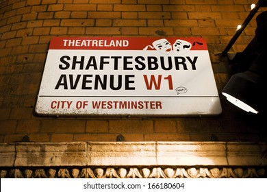 LONDON - DEC 10: Street Sign of Shaftesbury Avenue, was built in the late 19th century, now it is considered heart of London's West End theatre district, on Dec 10, 2012 in London, UK