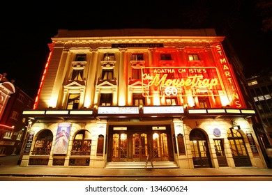 LONDON - DEC 11: Outside view of St Martin's Theatre, West End theatre, located on West Street, Camden of London, since 1916, designed by W. G. R. Sprague, at night on Dec 11, 2012 in London, UK