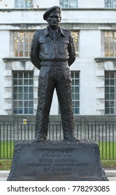 LONDON - DEC 12, 2017: Statue of Field Marshal Bernard Law Montgomery, 1st Viscount Montgomery of Alamein, nicknamed Monty and the Spartan General