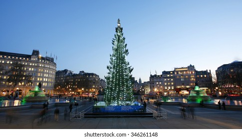 LONDON - DEC 12: The Christmas tree; normally a 50- to 60-year-old Norway spruce; on Trafalgar Square on Dec 12; 2012; London; UK. Since 1947 the pine tree has been a gift from Norway.