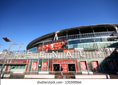 LONDON - DEC 12. The Emirates Stadium is located in the Islington area, slightly north of the centre of London, England on Dec 12, 2012.