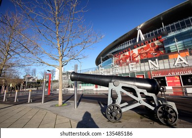 LONDON - DEC 12: An indispensable sign of Arsenal FC is Cannon in front of the Emirates Stadium, in London, England on Dec 12, 2012.