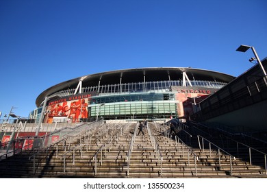 LONDON - DEC 12. The stadium is best reached by metro. The nearest tube station is Arsenal, on the Piccadilly line,  in London, England. on Dec 12, 2012.