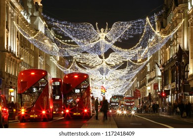 LONDON - DEC 17 : Christmas Lights Display on Regent Street on Dec 17, 2016, London, UK. The modern colorful Christmas lights attract and encourage people to the street.