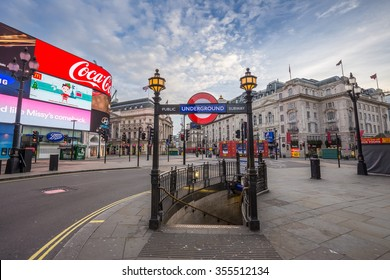 LONDON - DEC 25: Underground Entrance at the totally empty Piccadilly Circus on Christmas morning. Quiet streets and square on Dec 25 early morning, 2015 in London, UK.