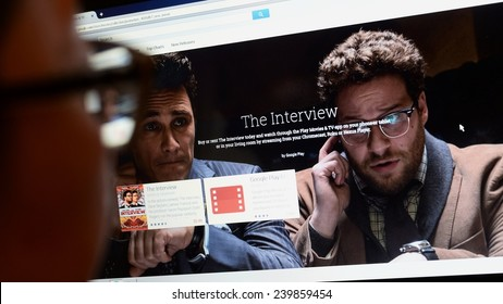 LONDON - DEC 25: A viewer browses Google Play store for the Sony Pictures film The Interview on Dec 25, 2014 in London, UK. The controversial film has seen limited online and cinema release in the US.