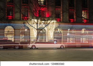 London - December 11, 2016: White Limousine Parking Next To One Aldwych Hotel London By Night