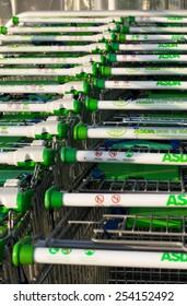 LONDON - DECEMBER 12TH: Asda shopping trolleys on December the 12th, 2010, in London, England, UK. Asda is one of the UK's leading supermarkets.