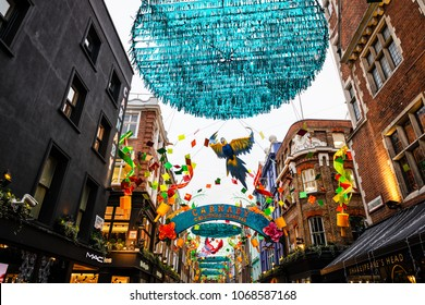 LONDON - DECEMBER 20, 2017: The famous London Carnaby Street decorated for the Christmas season.