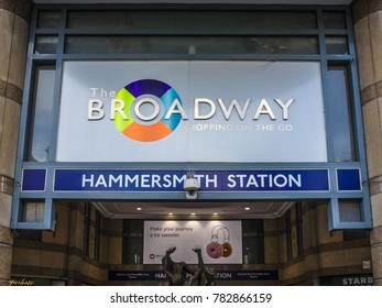 LONDON- DECEMBER, 2017: Entrance to The Broadway shopping centre and Hammersmith Station in Hammersmith, London.