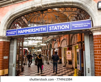 LONDON- DECEMBER, 2017: Entrance to Hammersmith Station in West London servicing the Circle and the Hammersmith & City Line.