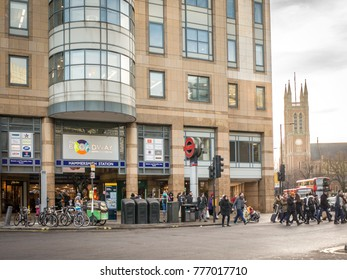LONDON- DECEMBER, 2017: Exterior of Hammersmith Broadway Shopping Centre and Hammersmith Station in West London.