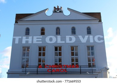 London, December 2017 - An illuminated sign promoting a production of A Christmas Carol by Charles Dickens at The Old Vic theatre in Waterloo, South London.