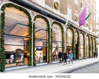 London, December 2017. A view of the Asprey store on Old Bond street in Mayfair.