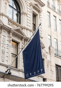 London, December 2017. A view of the flag above the Graff store on Old Bond street in Mayfair.