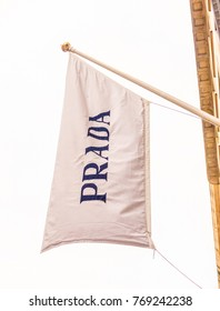 London, December 2017. A view of the flag above the Prada store on Old Bond street in Mayfair.