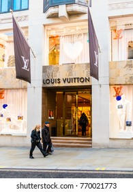 London, December 2017. A view of the Louis Vuitton store on Old Bond Street , in Mayfair.