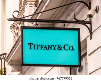 London, December 2017. A view of the sign above the Tiffany and Co store on Abarmarle street in Mayfair.