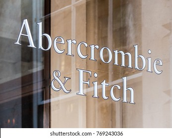 London, December 2017. A view of the sign outside the Abercrombie and Fitch store on Burlington Gardens, in Mayfair.