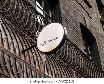 London, December 2017. A view of the sign outside the Paul Smith store on Albemarle street, in Mayfair.