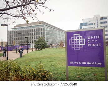 LONDON- DECEMBER, 2017: White City Place, a business district comprising of office buildings and food outlets formerly known as the BBC Media Centre, close to Shepherds Bush