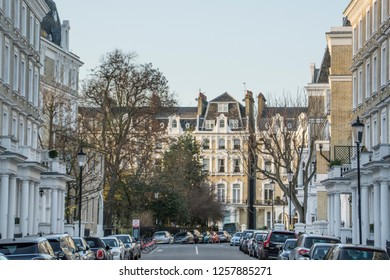 LONDON- DECEMBER, 2018: A attractive residential street of tall upmarket townhouses in Chelsea & Kensington