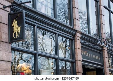 LONDON- DECEMBER, 2018: Ralph Lauren store front on Fulham Road, an upmarket American designer fashion brand