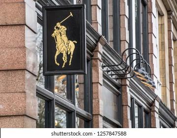 LONDON- DECEMBER, 2018: Ralph Lauren's famous logo on store front- an upmarket American designer fashion brand