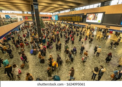 LONDON- DECEMBER, 2019: Euston Station main concourse- wide angle view of major railway terminus in central London