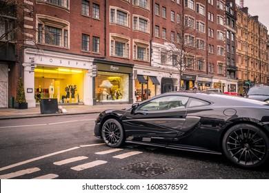 LONDON- DECEMBER, 2019: A luxury sports car on Sloane Street in Knightsbridge, an upmarket are of London's West End