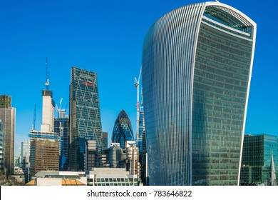 LONDON DECEMBER 28, 2017: Rooftop view of skyscrapers in the City, a modern business district in London, UK