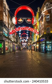 LONDON - DECEMBER 29th 2014: Carnaby Street is one of the most famous and popular shopping areas of London, it celebrates Christmas with some of the most spectacular Christmas lights in the capital.