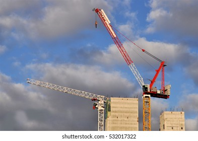 LONDON - DECEMBER 3, 2016. Building construction cranes on a redevelopment site in the King's Cross area of London, UK.
