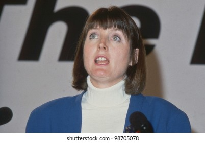 LONDON - DECEMBER 6: Harriet Harman, Labour party Member of Parliament for Peckham, speaks at a press conference on December 6, 1990 in London. In June 2007 she became Labour party Deputy Leader..
