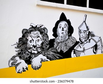LONDON - DECEMBER 6. Temporary street art on the facade of Chelsea Arts Club featuring characters from the 1939 American film The Wizard of Oz, on December 6, 2014; located in Chelsea, London.