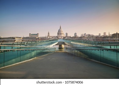 London early morning, Millennium Bridge with St.Paul's Cathedral at the background.