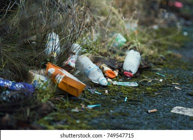 london, engalnd, 05/05/2017, Street litter fly tipping on the streets. Food waste and non recyclable food and product waste packaging discarded in urban areas.