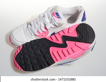 london, englabnd, 05/08/2018 Nike Air max 90s, White, pink, purple, Nike air max retro classic sneaker trainers. Nike sport and street wear fashionable athletic apparel. sole rubber.