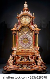 London. England. 01.24.2020. An ornate antique timepiece in the Victoria and Albert Museum in central London in the United Kingdom.