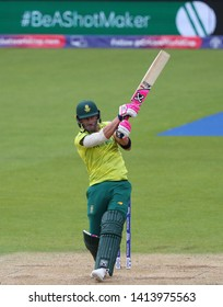 LONDON, ENGLAND. 02 JUNE 2019: Faf du Plessis of South Africa hits the ball for four runs during the South Africa v Bangladesh, ICC Cricket World Cup match, at the Kia Oval, London, England.
