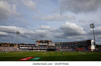 LONDON, ENGLAND. 02 JUNE 2019: A general view of play with the pavilion in the background during the South Africa v Bangladesh, ICC Cricket World Cup match, at the Kia Oval, London, England.