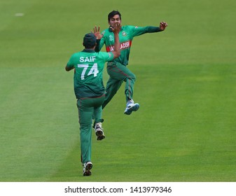 LONDON, ENGLAND. 02 JUNE 2019: Mehedi Hasan Miraz of Bangladesh celebrates taking the wicket of Faf du Plessis of South Africa during the South Africa v Bangladesh, ICC Cricket World Cup match