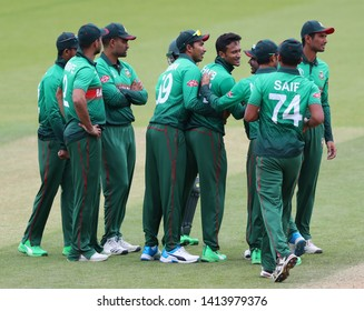 LONDON, ENGLAND. 02 JUNE 2019: Shakib Al Hasan of Bangladesh celebrates taking the wicket of Aiden Markram of South Africa  during the South Africa v Bangladesh, ICC Cricket World Cup match