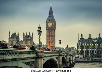 London / England - 02.07.2017. Westminster Bridge in the evening with the Big Ben tower in the background. Horizontal View.