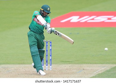 LONDON, ENGLAND. 05 JUNE 2019: Shakib Al Hasan of Bangladesh hits the ball for four runs during the Bangladesh v New Zealand, ICC Cricket World Cup match, at the Kia Oval, London, England.