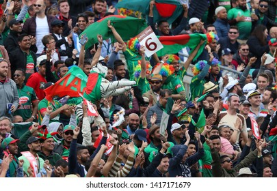 LONDON, ENGLAND. 05 JUNE 2019: Bangladesh fans celebrate six runs during the Bangladesh v New Zealand, ICC Cricket World Cup match, at the Kia Oval, London, England.