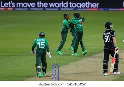 LONDON, ENGLAND. 05 JUNE 2019: Mosaddek Hossain of Bangladesh celebrates taking the wicket of James Neesham of New Zealand  during the Bangladesh v New Zealand, ICC Cricket World Cup match