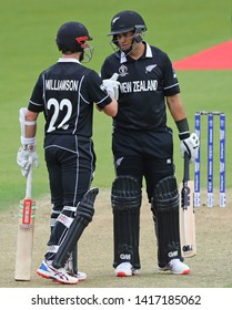 LONDON, ENGLAND. 05 JUNE 2019: Kane Williamson congratulates Ross Taylor of New Zealand on his half century during the Bangladesh v New Zealand, ICC Cricket World Cup match, at the Kia Oval, London