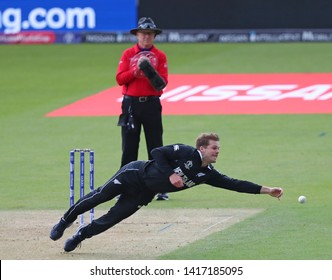 LONDON, ENGLAND. 05 JUNE 2019: Lockie Ferguson of New Zealand attempts to field the ball of his own bowling during the Bangladesh v New Zealand, ICC Cricket World Cup match, at the Kia Oval